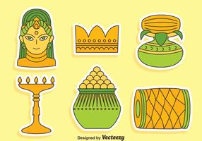India Festival Element Icons Vector
