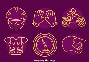 Motocross Element Line Icons Vector