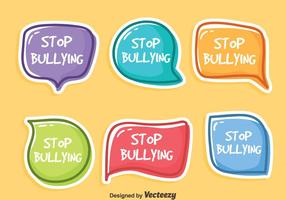 Stop pesten sticker vector set