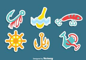 Fishing Element Sticker Vector Set