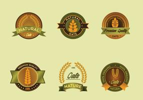 Oats label vector pack