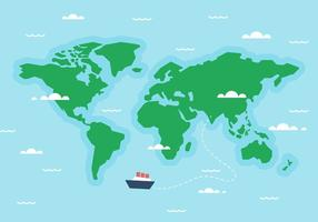 Gratis World Map Ship Vector