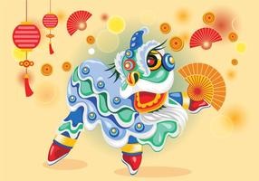 Mignon chinesse lion dance vector