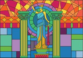 Vettore di Glass Painting Illustration della statua della giustizia