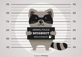 Vector Cartoon Arrested Raccoon