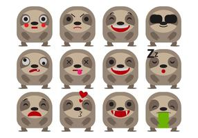 Gratis Cartoon Sloth Emoticons Vector