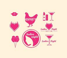 Retro Hen Party Ontwerp Elementen