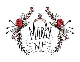 Libre Marry Me Mano Dibujar Vector