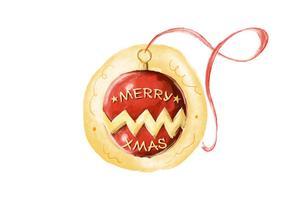 Vector libre de la acuarela de la bola de Navidad