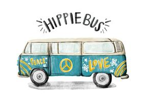 Hippie Bus Acuarela Vector