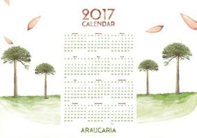 Vettore dell'acquerello del calendario 2017 di Araucaria