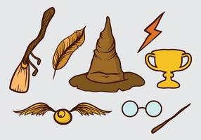 Hand drawn set of wizard elements