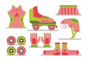 Woman Roller Derby Vector Set