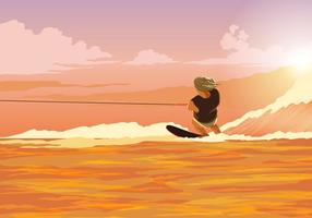 Water Skiing Action Vector