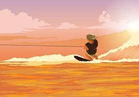 Vector de acción de esquí acuático