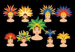 Vetores brasileiros de dançarinos de samba