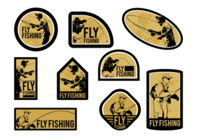 Man Fly Fishing Vector Etiketter