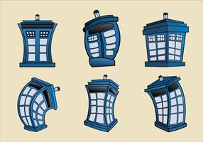Vector cartoon illustratie van Tardis blue police phone box