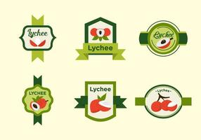 Red Lychee Fruits Label Vectors