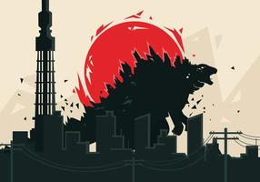 Fondo del vector de Godzilla