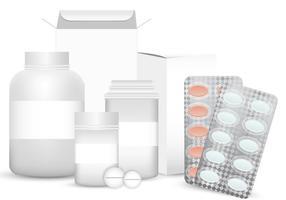 Conjunto de vetores em branco de embalagem de plástico caixa de pílula