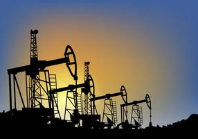 Oil Field over Sunset Vector Illustration