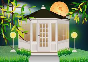 Blanco Gazebo En El Jardín Con La Luz De La Luna Vector