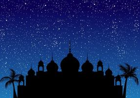 Silhouette Of Mosque With Blue Sky vector