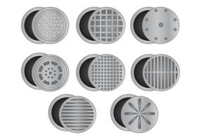 Set Manhole With White Background