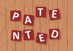 Sign Of Patented In Puzzle Of Wood Background