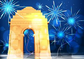 Cancello di notte dell'India con l'illustrazione dei fuochi d'artificio