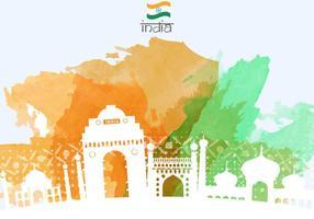 Indien Nacht Tor Mit Gebäuden Illustration