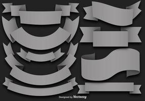 Vector Set Of Gray Flat Ribbons