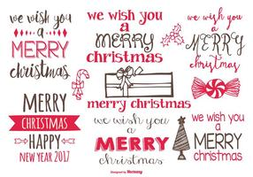 Cute Hand Drawn Christmas Labels vector