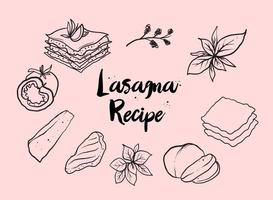 Vecteur de lasagnes à la main libre