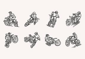 Hand Drawn Dirt Bike Icons vector