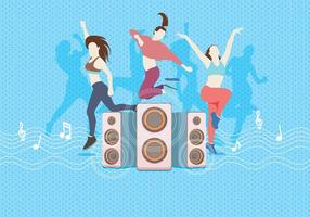 Zumba Dancing With Speaker Vector