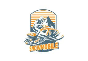 Snowmobile Handgraving Vector