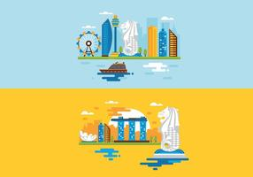 Merlion Illustration Design piatto