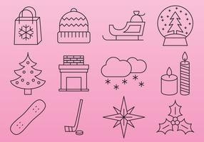 Pink Christmas line icons vector