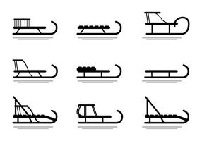 Sleds, toboggan vector silhouette