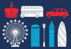 British Trip Icons vector