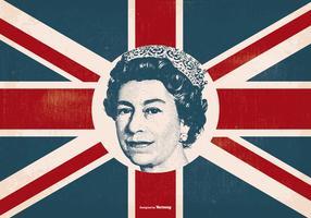 Reine Elizabeth sur drapeau britannique