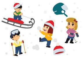 Free Happy Children Playing in Winter Season Vector