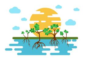 Free Mangrove Trees Illustration Vector