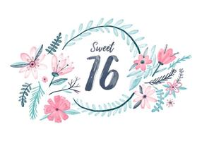 Sweet 16 Watercolor Background vector