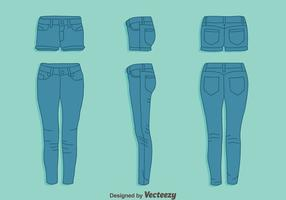 Blue Jean und Hot Pant Vektor Set
