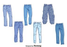 Handdragen blå jeans vektor uppsättning