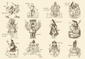 Hinduism Gods And Goddess vector