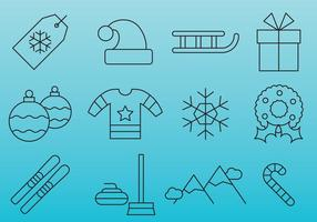 Blue Christmas line icons vector